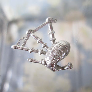 Sterling Silver Charm BAGPIPES Scotland Vintage